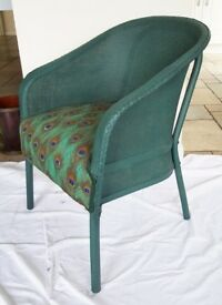 Interesting Peacock Design Lloyd Loom Chair / Seat, perfect for Bedroom, Conservatory or Living Room