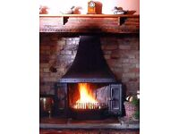 Dovre Multi-Fuel/Gas Fireplace Stove With Canopy Hood and Side Panels - Unused