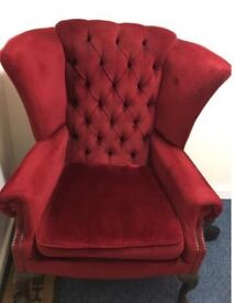 Wing fireside chair -red velvet