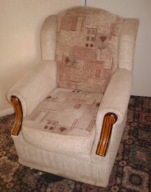 Good Quality Compact Upholstered Armchair. Seat Width 45cm. Seat Height 48cm (Approx)