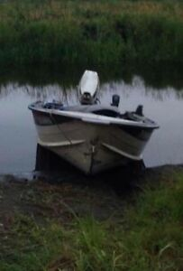 14ft boat 30hp Johnson and trailer