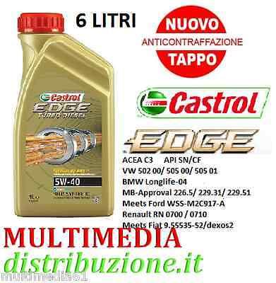 6 LITRI OLIO MOTORE CASTROL EDGE 5W40 TITANIUM FST TURBO DIESEL SINTETICO 505.01