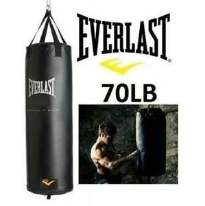 NEW* EVERLAST 70LB PUNCHING BAG 7707KIT 242870018 WITH GLOVES AND HAND WRAPS S HOOK BUNGIE CORD