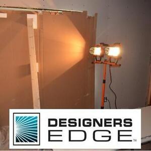 NEW DESIGNERS EDGE TRIPOD LIGHT 100 WATT TWIN HEAD SPOTLIGHT ADJUSTABLE TRIPOD TELESCOPING LIGHTING WORK LIGHTS