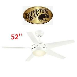 "NEW 52"" WINDWARD CEILING FAN LIGHT 71223 220918611 HAMPTON BAY HOME HOUSE DECOR MATTE WHITE"
