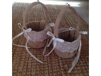 2 hessian and lace flower girl baskets used once