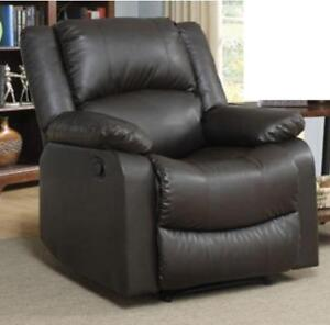 Lifestyle Solutions  Warren Traditional Faux Leather Recliner Chair  Java (Open Box)