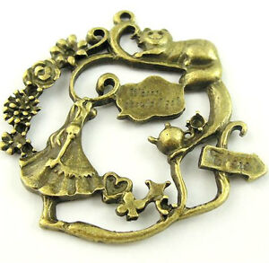 12X Vintage Style Bronze Tone Alice in Wonderland Pendant Charms 41*40*3mm