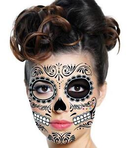 2 Day of the Dead Dia De Los Muertos Temp Face TATTOO Sugar Skull! Black Goth