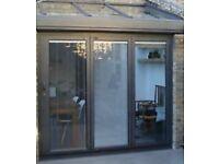 NEW 3 Door Bi Folding Door Built In Manual White Blinds