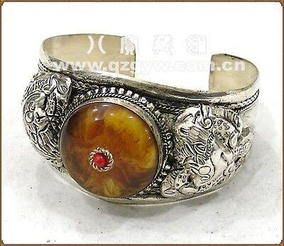 Huge Tibetan Beeswax Amber Carved Spiral Dragon Weaving Amulet Cuff Bracelet