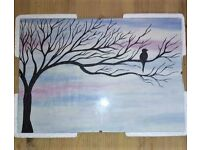 Blue Winter Sunset Hand Painted Incl. Picture Frame