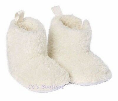 Girls LUVABLE FRIENDS faux fur boots 6-12 & 12-18 NWT ivory furry crib booties