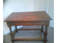 Solid oak mahogany brown vintage side table up cycling reclaimed
