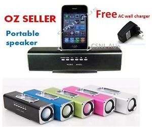 PORTABLE RECHARGEABLE SPEAKER IPOD/IPHONE DOCK USB