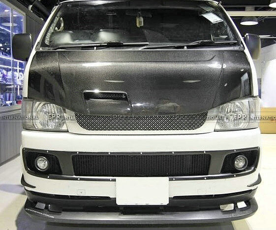 Pop Vented Hood Bonnet Body Kit For Toyota 2010 Hiace 200 Carbon Fiber Racing