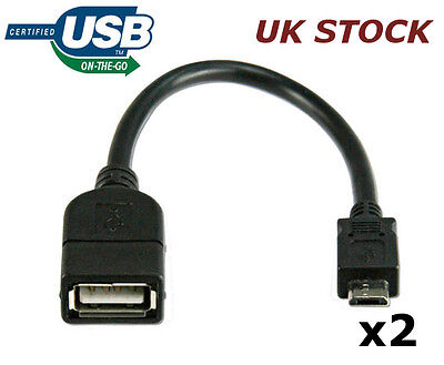2x HIGH QUALITY OTG ON THE GO USB CABLES - SAMSUNG HUDL HTC NOKIA  BLACKBERRY LG
