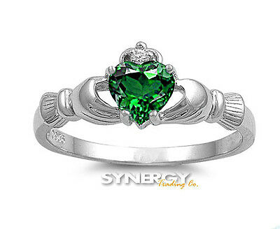 (.925 Sterling Silver Simulated Emerald CZ Irish Claddagh Heart Promise Ring)