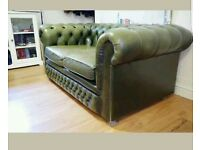 Beautiful green 2 seater leather Chesterfield free footstool