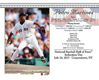 PEDRO MARTINEZ BOSTON RED SOX 8X10 2015 HALL OF FAME HOF INDUCTION DAY CARD - Boston Red