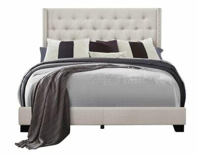 King Bed Frame Complete Set Rails Upholstered Headboard Bedroom Furniture Beige Complete Bedroom Sets