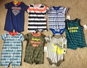 REDUCED - 7 NEW ONESIES for BOYS (6-12 months)