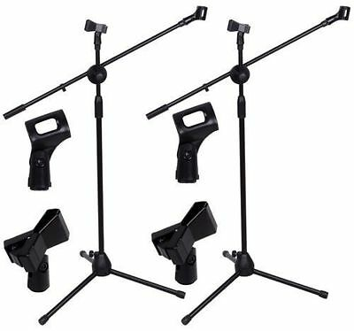2 Pack Dual Microphone Stand Boom Arm Holder & Mic Clip Stage Studio Tripod MG
