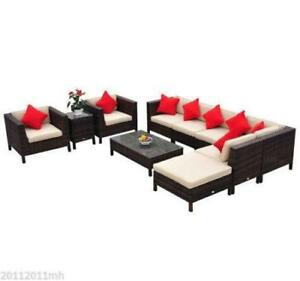 9pc PE Rattan Wicker Furniture Lounger Set Sectional Sofa Table Chair Cushions / Brand New in box