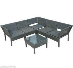6pc Rattan Furniture Wicker Set Lounger Sofa Table Chair w/ Cushions / Brand New outdoor Furniture