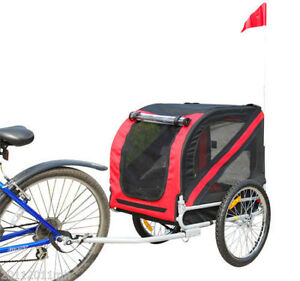 Foldable Bicycle Pet Trailer 2-in-1 black and red bicycle pet