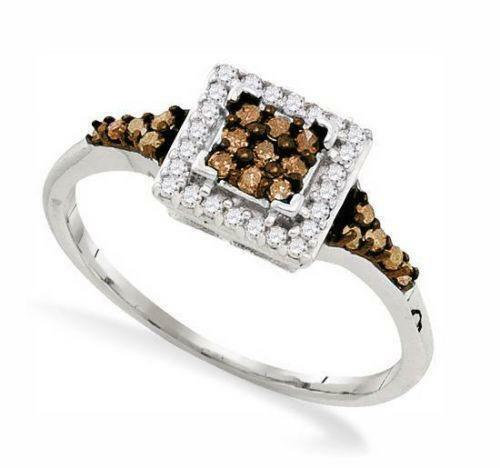 Square Diamond Cluster Ring Ebay