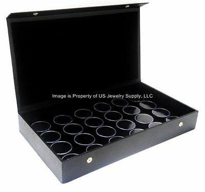 1 Snap Top Lid Black 24 Jar Box Case Display Gems Body Jewelry Coins