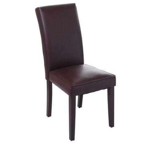 Leather dining room chairs ebay for Brown leather dining room chairs