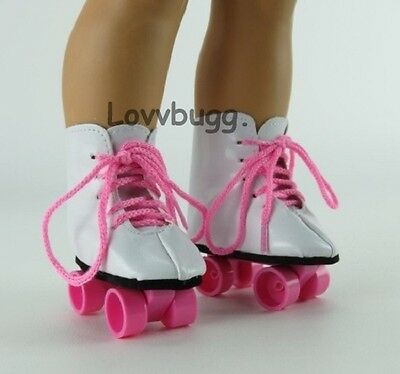 "Pink Roller Skates for 18"" American Girl or Bitty Baby Doll Shoes"