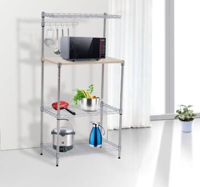 4-Tier Bakers Rack Kitchen Cart Microwave Stand Cutting Board Workstation