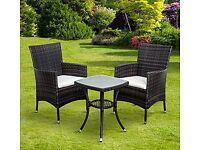 Outsunny 3 Pcs Rattan Bistro Set: 1 x Table, 2 x Chairs-Brown
