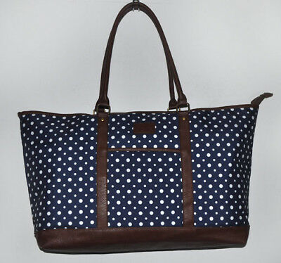 Skylite Navy & White Polka Dot & Brown Faux Leather X-Large Tote Travel Bag