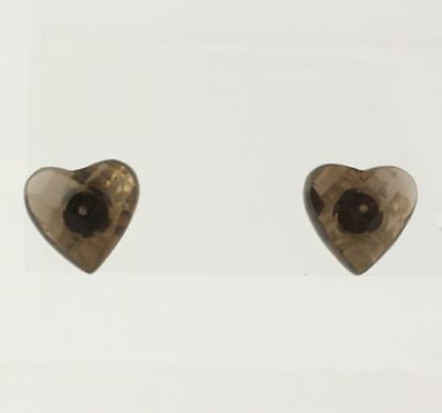 NEW Heart Shaped Smokey Quartz Stud Earrings - 925 Sterling Silver Women's Fine