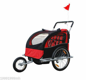 Black & Red 2-in-1 double Baby Kids Bicycle jogger & Stroller