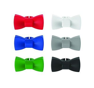 True Fabrications Silicone Bow Tie Wine Glass Charms / Drink Markers - Set of 6