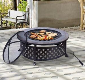 "34"" Fire Pit with BBQ Grill Backyard Patio Fire Bowl Outdoor BBQ Round Stove Black / Patio fire pit"