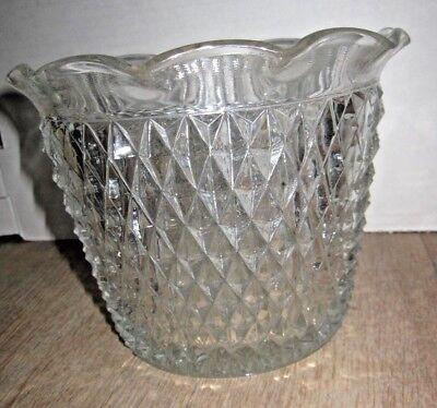 Vintage Indiana Glass Diamond Point Jardiniere, Vase, Bowl, Ice Bucket b110
