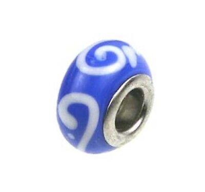 Lampwork Handmade Bead Big Hole Fit Bracelet Charm Blue White Scroll Scroll Lampwork Bead