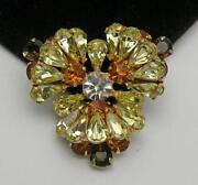 Vintage Yellow Rhinestone Brooch