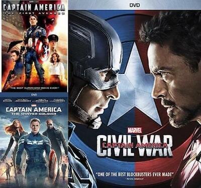 Captain America The First Avenger,The Winter Soldier,Civil War 1 2 3 box Set DVD