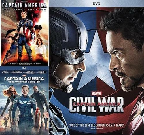 Captain America The First Avenger,The Winter Soldier,Civil War 1 2 3 box Set DVD