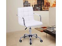 Swivel Office Chair PU Leather White