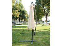 Homcom 3m Garden Parasol Sun Shade Banana Hanging Umbrella Cantilever Cream