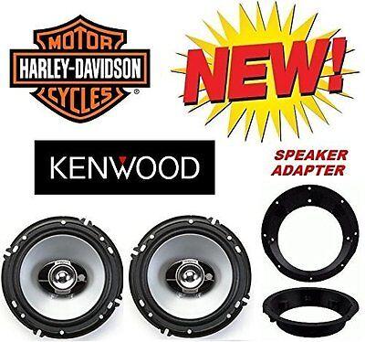 98-2013 Kenwood Harley Touring Speaker Package + 2 Motorcycle Adapter Rings PKG