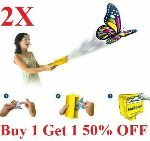 2pcs Flying Butterfly greeting Card book Magic Toy fly wind up Great Gift -USA Collectibles